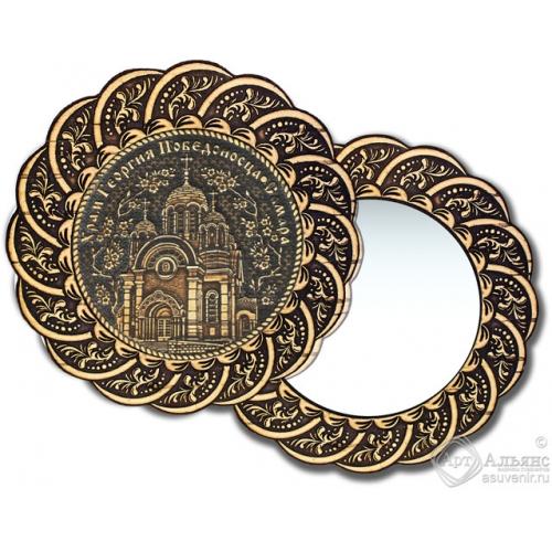 Зеркало из бересты Вернисаж без ручки с берестяной накладкой Самара-Храм Георгия Победоносца
