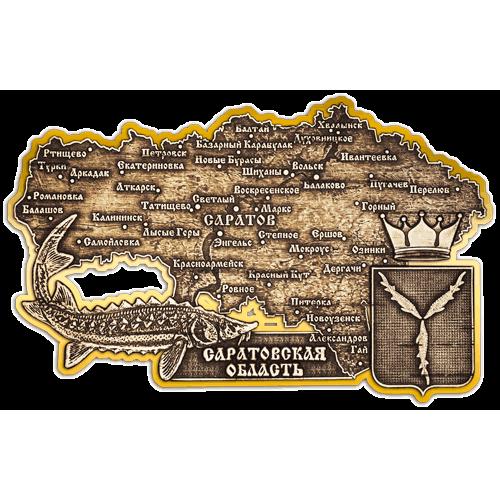 """Магнит из бересты вырезной Саратов """"Саратовская область карта"""" (Золото) В-6854"""