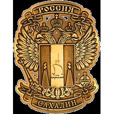 Магнит из бересты вырезной Сахалин Герб в орле (золото) В-21607