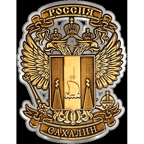 Магнит из бересты вырезной Сахалин Герб в орле (Серебро) В-21608