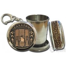 Стопка-брелок Сахалин-Герб с накладкой из бересты