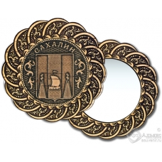 Зеркало из бересты Вернисаж без ручки Сахалин-Герб
