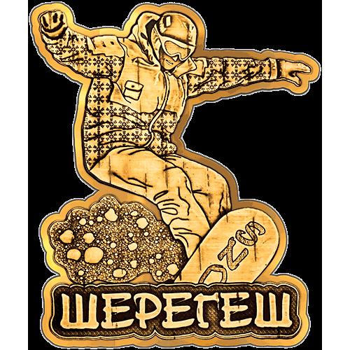"""Магнит из бересты вырезной Шерегеш """"Сноубордист"""" (Золото) В-22246"""