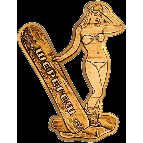 Магнит из бересты вырезной Шерегеш - Девушка со сноубордом (Золото) В-21639