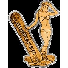 Магнит из бересты вырезной Шерегеш - Девушка со сноубордом (серебро) В-21640