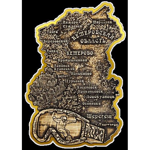 """Магнит из бересты вырезной Шерегеш """"Карта Кемеровской области"""" (Золото) В-21653"""
