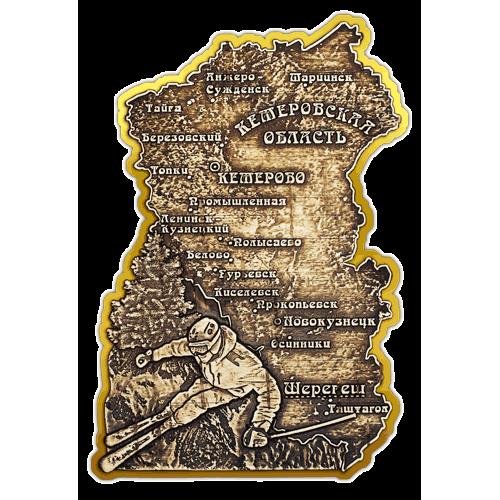 """Магнит из бересты вырезной Шерегеш """"Карта Кемеровской области"""" (Золото) В-21655"""