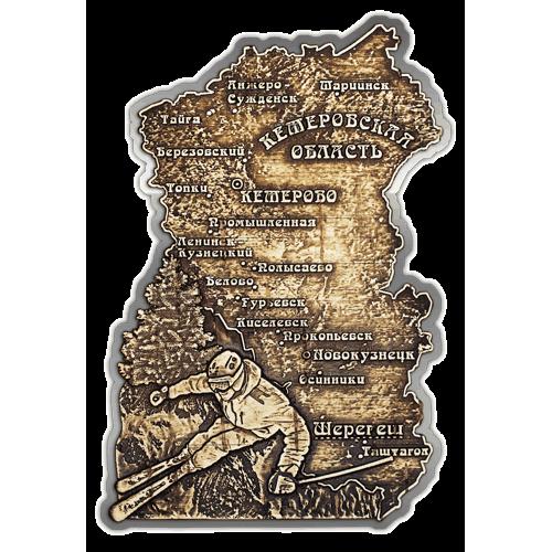 """Магнит из бересты вырезной Шерегеш """"Карта Кемеровской области"""" (Cеребро) В-21656"""