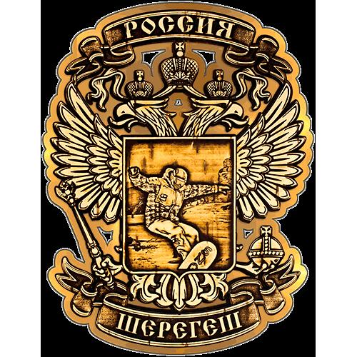 """Магнит из бересты """"Сноубордист в орле"""" Шерегеш (Золотой) В-22242"""