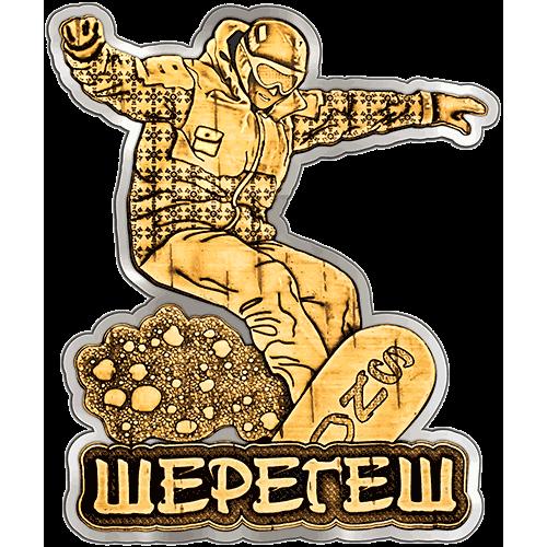 """Магнит из бересты вырезной Шерегеш """"Сноубордист"""" (серебро) В-22247"""