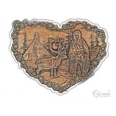 Магнит из бересты вырезной Чум Олень сердце серебро