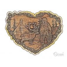 Магнит из бересты вырезной Чум Олень сердце золото