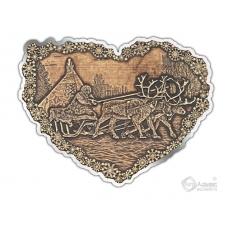 Магнит из бересты вырезной Погонщик Оленей сердце серебро