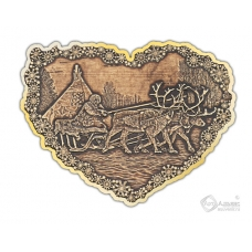 Магнит из бересты вырезной Погонщик Оленей сердце золото