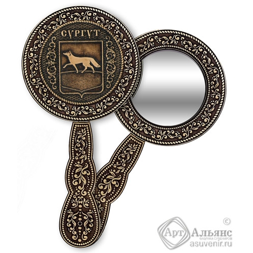 Зеркало круглое с ручкой Сургут-Герб