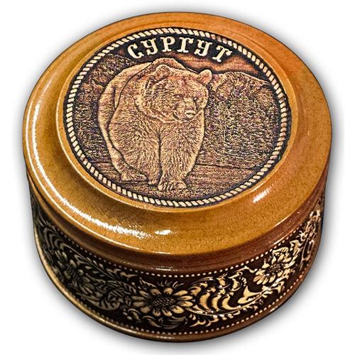 Шкатулка деревянная круглая с накладками из бересты Сургут-Медведь 70х46