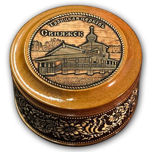 Шкатулка деревянная круглая с накладками из бересты Свияжск-Троицкая Церковь 70х46