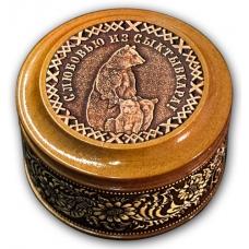 Шкатулка деревянная круглая с накладками из бересты Сыктывкар-Медведи  70х46