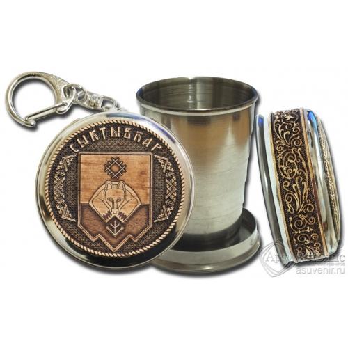 Стопка-брелок Сыктывкар-герб с накладкой из бересты