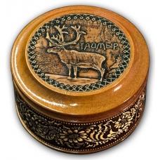 Шкатулка деревянная круглая с накладками из бересты Таймыр-Олень 70х46