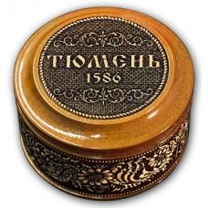 Шкатулка деревянная круглая с накладками из бересты Тюмень-Год основания 70х46