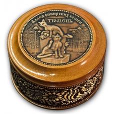 Шкатулка деревянная круглая с накладками из бересты Тюмень-Аллея Сибирских кошек 70х46
