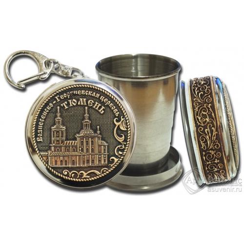 Стопка-брелок Тюмень-Вознесенско-Георгиевская церковь с накладкой из бересты