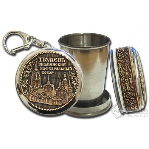 Стопка-брелок Тюмень-Знаменский Кафедральный Собор с накладкой из бересты