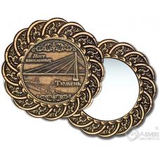 Зеркало из бересты Вернисаж без ручки Тюмень-Мост влюблённых