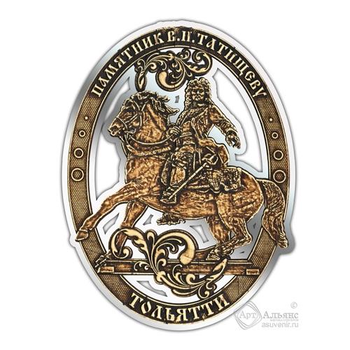 Магнит из бересты вырезной Тольятти-Татищев серебро