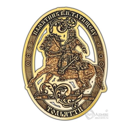 Магнит из бересты вырезной Тольятти-Татищев золото