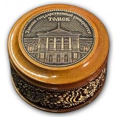 Шкатулка деревянная круглая с накладками из бересты Томск-Государственный университет 70х46