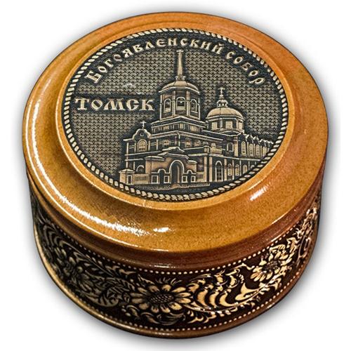 Шкатулка деревянная круглая с накладками из бересты Томск-Богоявленский собор 70х46