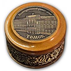 Шкатулка деревянная круглая с накладками из бересты Томск-Политехнический университет 70х46