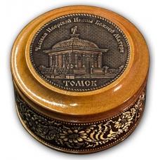 Шкатулка деревянная круглая с накладками из бересты Томск-Часовня Иверской Иконы Божией Матери 70х46