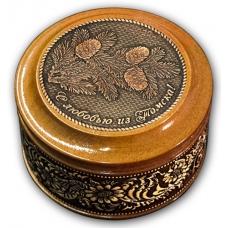 Шкатулка деревянная круглая с накладками из бересты Томск-Ветки 70х46