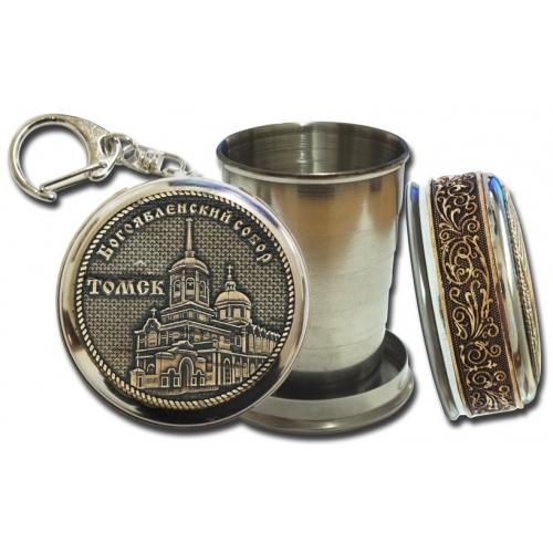 Стопка-брелок Томск-Богоявленский собор с накладкой из бересты