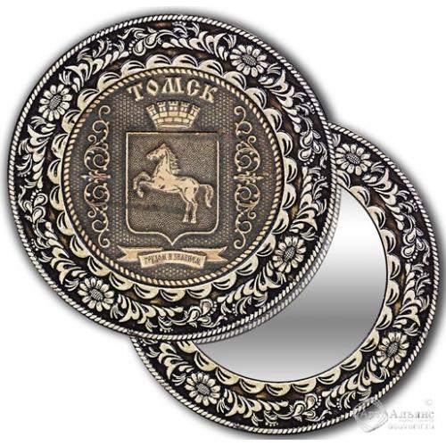 Зеркало круг из бересты с накладкой Томск-Герб