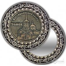 Зеркало круг из бересты с накладкой Томск-Богоявленский собор