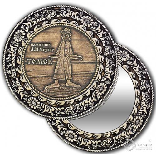 Зеркало круг из бересты с накладкой Томск-Памятник А. П. Чехову