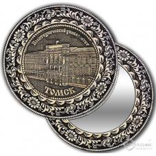 Зеркало круг из бересты с накладкой Томск-Политехнический университет