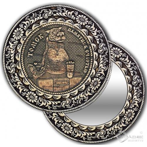 Зеркало круг из бересты с накладкой Томск-Памятник Счастью