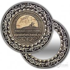 Зеркало круг из бересты с накладкой Томск-Планетарий (ссылка сайта)