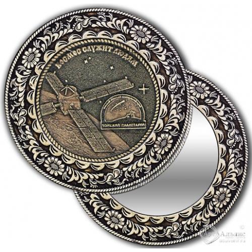 Зеркало круг из бересты с накладкой Томск-Планетарий (спутник)
