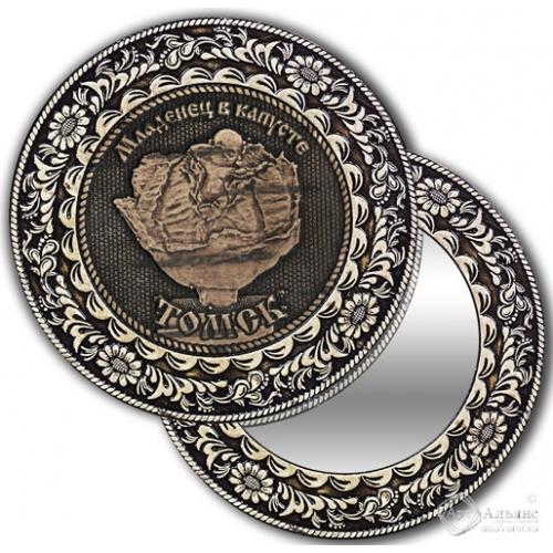 Зеркало круг из бересты с накладкой Томск-Младенец в капусте