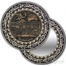 Зеркало круг из бересты с накладкой Томск-Планетарий (задние)