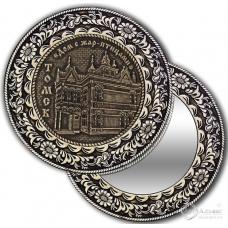 Зеркало круг из бересты с накладкой Томск-Дом с Жар-птицами