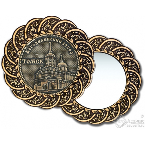 Зеркало из бересты Вернисаж без ручки Томск-Богоявленский собор