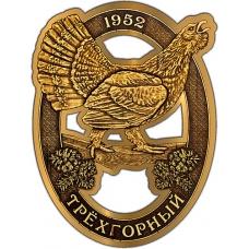 Магнит из бересты вырезной Трехгорный Глухарь в овале золото