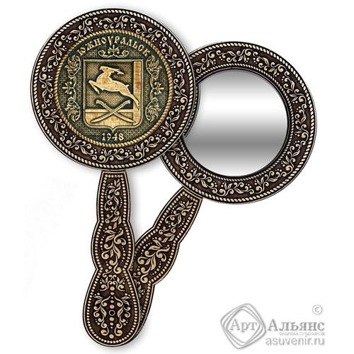 Зеркало круглое с ручкой Южноуральск-Герб